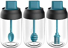 3 Pieces Glass Bottle with Spoon and Lid, Sealed