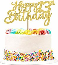 3 Pieces Happy 13th Birthday Cake Topper Glitter