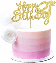 3 Pieces Happy 21st Birthday Cake Topper Gold