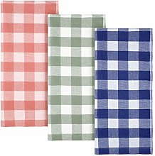 3 Pieces Kitchen Towel Cotton Fabric Terry Plaid