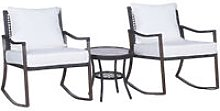 3 Pieces Rattan Bistro Set Round Coffee Table