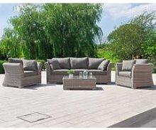 3 Seat Rattan Garden Sofa Set in Grey - Lisbon