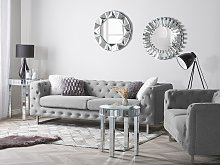 3 Seater Chesterfield Sofa Light Grey Button Tufted