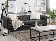 3 Seater Chesterfield Style Sofa Black Tuxedo Arms