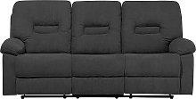 3 Seater Fabric Recliner Sofa Grey BERGEN