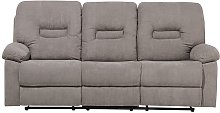 3 Seater Fabric Recliner Sofa Taupe Beige BERGEN