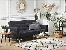 3 Seater Fabric Sofa Bed Graphite Grey with Black