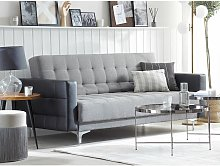 3 Seater Fabric Sofa Bed Grey with Black ABERDEEN