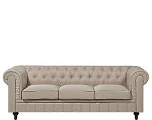 3 Seater Fabric Sofa Beige CHESTERFIELD Big