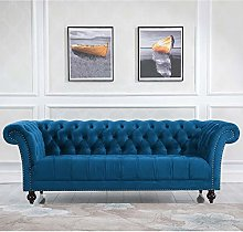 3 Seater Fabric Sofa, Happy Beds Chester Blue