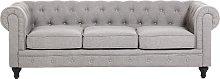 3 Seater Fabric Sofa Light Grey CHESTERFIELD