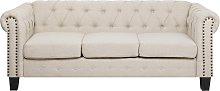 3 Seater Fabric Sofa Nailhead Trim Beige
