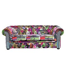 3 Seater Fabric Sofa Patchwork Purple CHESTERFIELD