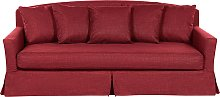 3 Seater Fabric Sofa Red Polyester Skirted Foam