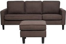 3 Seater Fabric Sofa with Ottoman Brown AVESTA