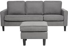 3 Seater Fabric Sofa with Ottoman Light Grey AVESTA