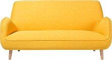 3 Seater Fabric Sofa Yellow KOUKI