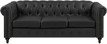 3 Seater Faux Leather Sofa Black CHESTERFIELD