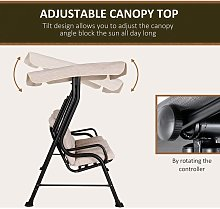 3-Seater Garden Swing Chair Metal Frame Canopy