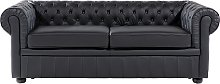 3 Seater Leather Sofa Black CHESTERFIELD