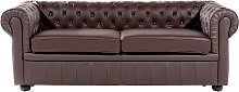 3 Seater Leather Sofa Brown CHESTERFIELD
