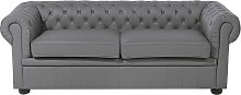 3 Seater Leather Sofa Grey CHESTERFIELD