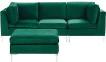 3 Seater Modular Velvet Sofa with Ottoman Green