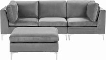 3 Seater Modular Velvet Sofa with Ottoman Grey EVJA