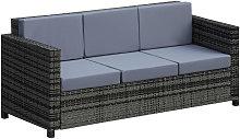 3-Seater Rattan Sofa Plastic Wicker w/ Padded