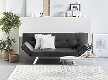 3 Seater Sofa Bed Black Upholstered Faux Leather