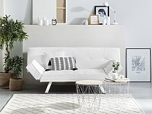 3 Seater Sofa Bed White Faux Leather Armless Modern