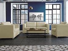3 Seater Sofa Beige Split Leather Upholstery