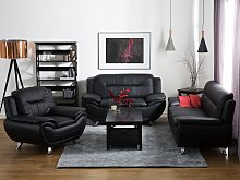 3 Seater Sofa Black Faux Leather Pillow Top Arms