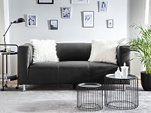 3 Seater Sofa Black Faux Leather Silver Metal Legs