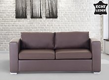 3 Seater Sofa Brown Leather Upholstery Chromed