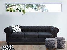 3 Seater Sofa Dark Grey Fabric Tufted Scroll Arms