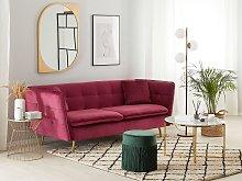 3 Seater Sofa Dark Red Velvet Fabric Upholstery