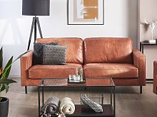 3 Seater Sofa Gold Brown Faux Leather Retro Living