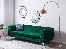 3 Seater Sofa Green Velvet Chesterfield Style Low