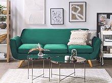 3 Seater Sofa Green Velvet Upholstery on Slanted