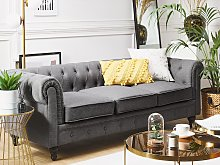 3 Seater Sofa Grey Fabric Tufted Scroll Arms