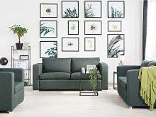 3 Seater Sofa Grey Fabric Upholstery Chromed Legs