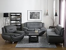 3 Seater Sofa Grey Faux Leather Pillow Top Arms