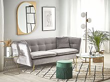 3 Seater Sofa Grey Velvet Fabric Upholstery Button