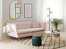 3 Seater Sofa Pink Velvet Fabric Upholstery Button