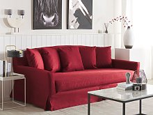 3 Seater Sofa Red Polyester Fabric Skirted Loose