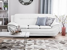 3 Seater Sofa White Faux Leather Pillow Top Arms