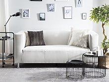 3 Seater Sofa White Faux Leather Silver Metal Legs