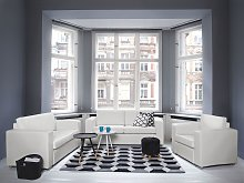 3 Seater Sofa White Split Leather Upholstery