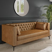 3 Seater Tan Faux Leather Sofa with Buttons and 2